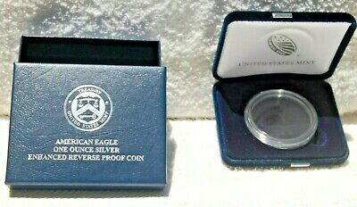 2019-S American Silver Eagle Enhanced Reverse Proof Mint Box and Capsule