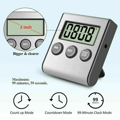 Kitchen Cooking Timer Digital Stopwatch Count Down Up Loud Clock Magnetic Stand