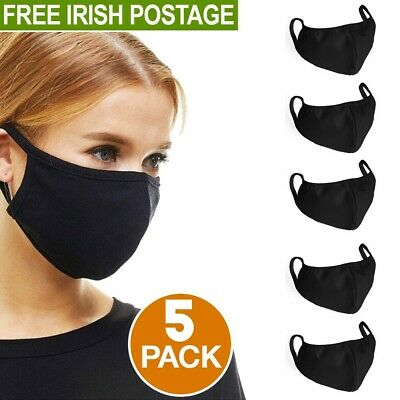 Black Face Mask 5 Pack Reusable Washable 100% Cotton