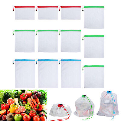 Reusable Mesh Produce Washable Fruit and Veg Bags Grocery Storage Shopping L3T7