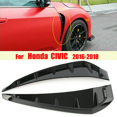 2x Glossy Black ABS Side Fender Vents Air Wing Cover Trim For 16-20 Honda Civic