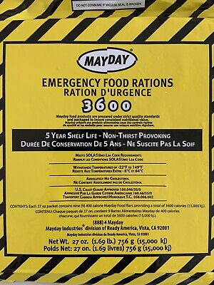 3 - Mayday 3600 Calorie Bar - 27 Meals 9 Day Emergency Survival Food Bar