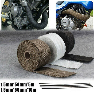 Exhaust Pipe Tape Heat Wrap Motorcycle For Cafe Racer ATV Go Cart Tractor Trucks 2x 5M Black