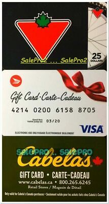 3x CANADIAN TIRE S25 POST CANADA CABELA'S RETAIL STORE COLLECTIBLE GIFT CARD LOT