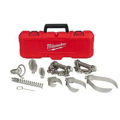 """Milwaukee 9pc Drain Pipe Cleaning head attachment set for 7/8"""" Sectional Cable"""