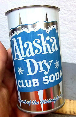 Alaska Dry Club Soda flat top Pop Can, Fairbanks Alaska, never used old stock