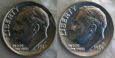 1985 P and D Roosevelt Dime 2 Coins from US Mint Set BU Cellos Ten Cents Two 10c