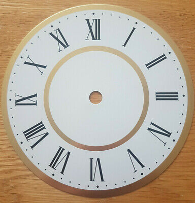 NEW - 6 Inch Clock Dial Face - White & Gold Finish 152mm Roman Numerals - DL18