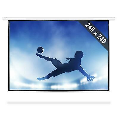 240 x 240 cm ROLLO VIDEO BEAMER LEINWAND HEIMKINO PROJEKTOR PUBLIC VIEWING WM EM