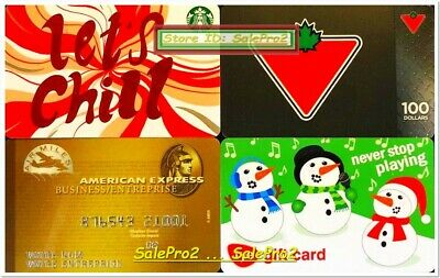 4x STARBUCKS LET'S CHILL FYE SNOWMAN USA CANADIAN TIRE COLLECTIBLE GIFT CARD LOT