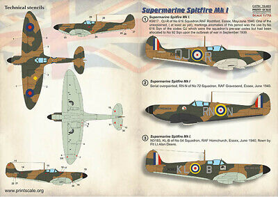 Print Scale 1//72 Supermarine Spitfire American Aces # 72064