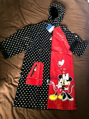 Disney Mickey and Minnie Mouse Black Dot Hooded Raincoat, Age 12 years, 100% PVC