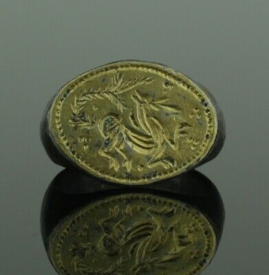 """Beautiful Ancient Medieval Silver Gilt Ring """"Mythical Beast""""  - Circa 15Th C Ad"""