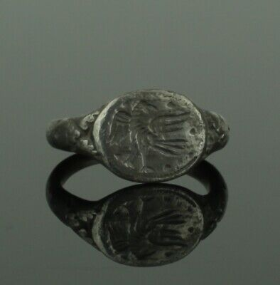 Ancient Roman Legionary Silver Ring With Eagle  - Circa 2Nd Century Ad  (442)