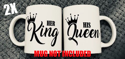 His Queen Her King Vinyl Stickers for Glass Mug Wine Gin Whisky Cup Beer Decals