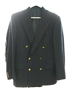 """Vintage JAEGER pure New Wool Navy 38-40"""" S chest Mens Double Breasted Blazer VGC"""