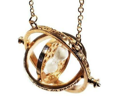 TIME TURNER NECKLACE Pendant Chain Rotating Hourglass Gift