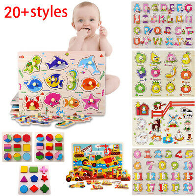 Wooden Puzzle Animal Letter Montessori Educational Jigsaw Baby Kids Learning Toy