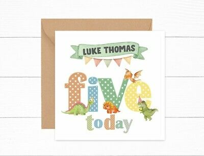 For a Special SON on your 4th Birthday ~ Dinosaur /& Balloons  card ~ Free p/&p