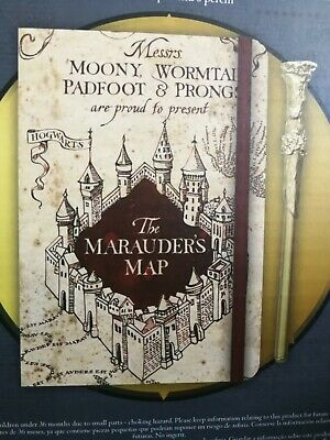 Harry Potter Boxed Gift Set Marauder/'s Map Wand Quill Bag Prints Framed