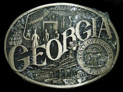 SK05154 *NOS* VINTAGE 1980s **GEORGIA** STATE COMMEMORATIVE SOLID BRASS BUCKLE