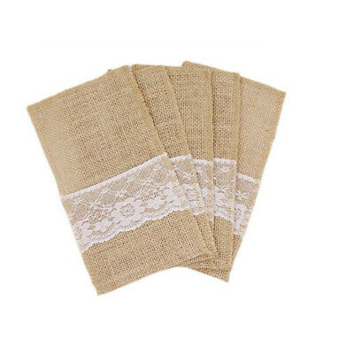 Burlap Wedding Supplies Cutlery Holder Spoon Storage Bags Party Decorations