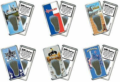 Dallas FootWhere® Souvenir Fridge Magnets. 6 Piece Set. Made in USA