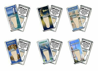 Dubai FootWhere® Souvenir Fridge Magnets. 6 Piece Set. Made in USA