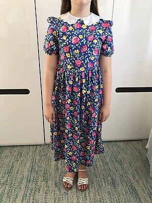 Vintage Laura Ashley Mother And Child Girls Dress Blue Floral Collar Age 11