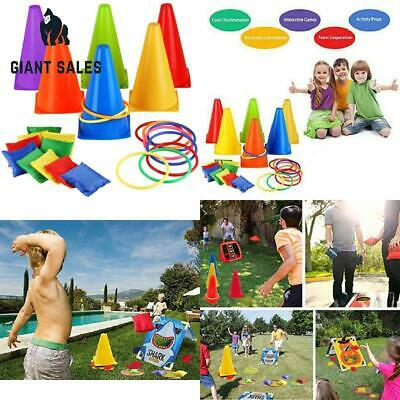 3 In 1 Cone Bean Bags Ring Toss Game Traffic Throw Hoop Family Outdoor    Ц ₪