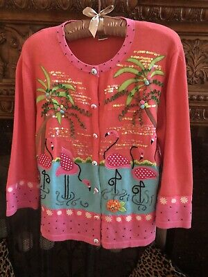 JACK B QUICK L zip front Cardigan Sweater Embroidery Beads