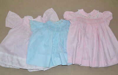 3 Vintage Baby Girl Dresses Smocking Embroidery & Lace