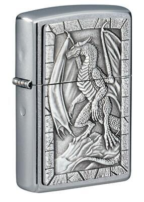 Zippo Windproof Street Chrome Lighter With Dragon Emblem, 49296, New In Box