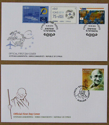 Gandhi + Anniversaries and Events ICAO,UPU EMS, EU Council Cyprus Official FDC's