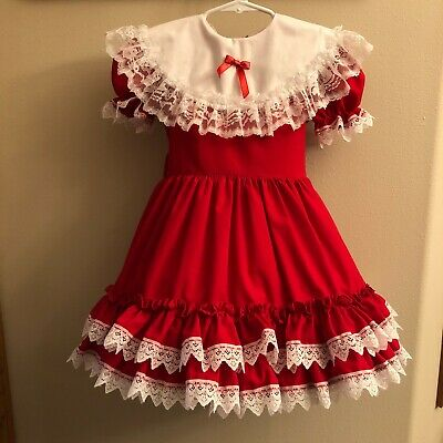 Lid'l Dolly Ruffles Lace Dress Pageant Party Red Christmas Holiday USA Full Sz 4