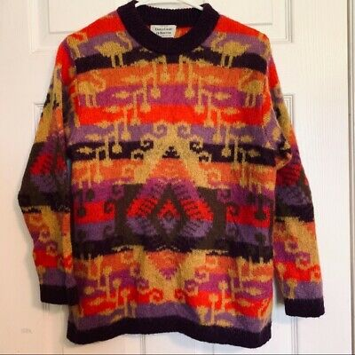 VINTAGE 80S 90S Benetton Knit Sweater Graphic Alphabet Print