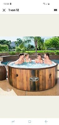 9 in 1 Bestway WhirlPool La-Z Spa Helsinki Winterfest Air Jet Set 9tlg Holzoptik