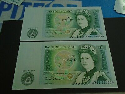 Bank of England SOMERSET UNC One Pound 2x £1 Banknotes - Consecutive Numbers AW