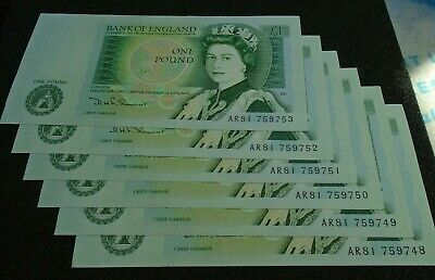 Bank of England SOMERSET UNC One Pound 6x £1 Banknotes - Consecutive Numbers AR8