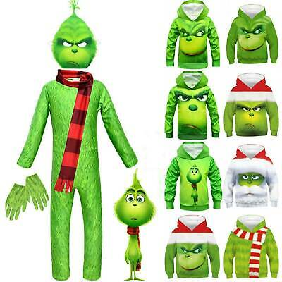 Kids Boys The Grinch Hoodie Pullover Sweatshirt Hooded Jackets Cosplay Costume