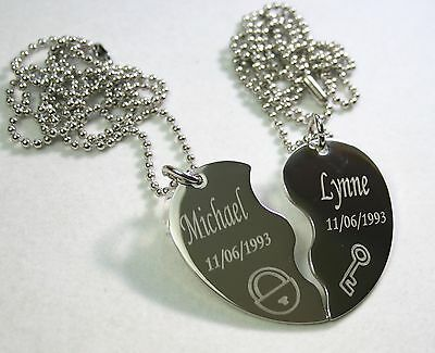 SOLID STAINLESS STEEL PENDANT NECKLACE PAIR SET SPLIT HEART NECKLACE SOUL MATE