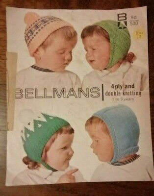 Vintage Baby Hats Knitting Pattern By Bellmans
