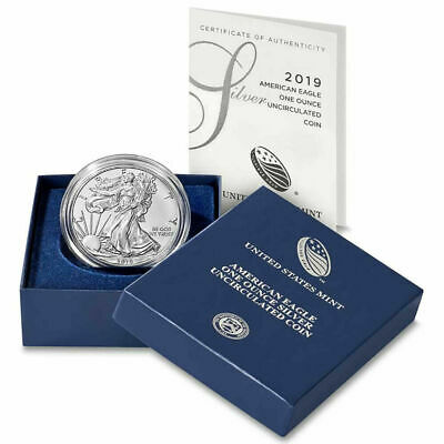 2019 W Burnished $1 Silver 1 oz Uncirculated American Eagle OGP & COA