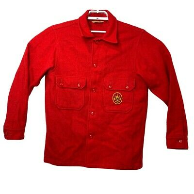 Boy Scouts of America BSA Official Wool Blend Red Button Shirt Jacket Vintage 42