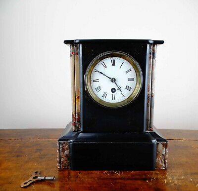 Antique Victorian French Mantel Clock in Polished Black Slate and Marble 8 Day