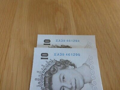 Unc Bank Of England 2000 Consecutive numbers £10.00 Banknotes x2