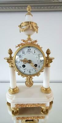 Very Nice Antique French 8 Day Bell Strike Cream Marble Portico Mantle Clock
