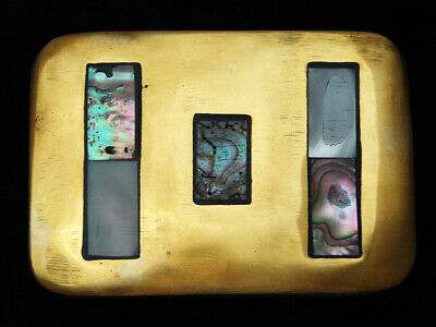 QB01146 VINTAGE 1970s **ABALONE SHELL** SOLID BRASS SOUTHWESTERN DESIGN BUCKLE