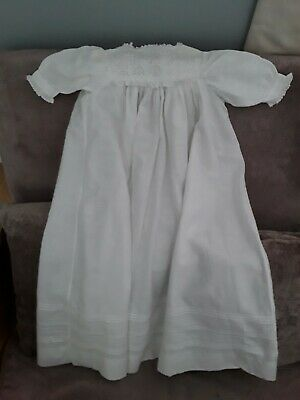 Antique White Cotton Hand Made Babies Gown