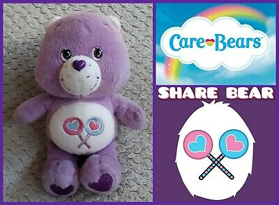 Official Care Bears: Share Bear lilac Teddy cuddly soft toy beanie baby plush